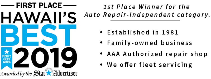 image of 2017 honolulu's best auto repair award